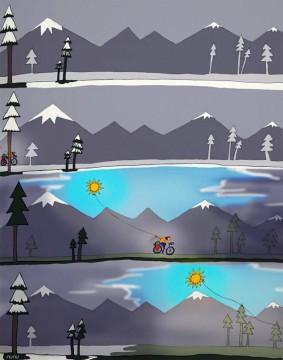 Piotr Strzeżysz na rowerze - rysunek Ali Leszyńskiej